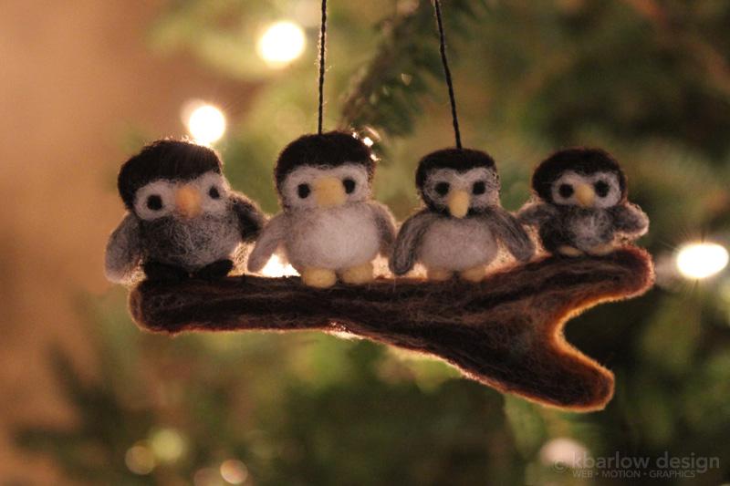 family of owls - needle felted | www.kbarlowdesign.com/blog