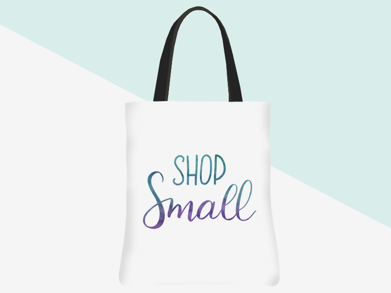 Shop Small Tote - white/watercolour lettering | kbarlowdesign.com/shop